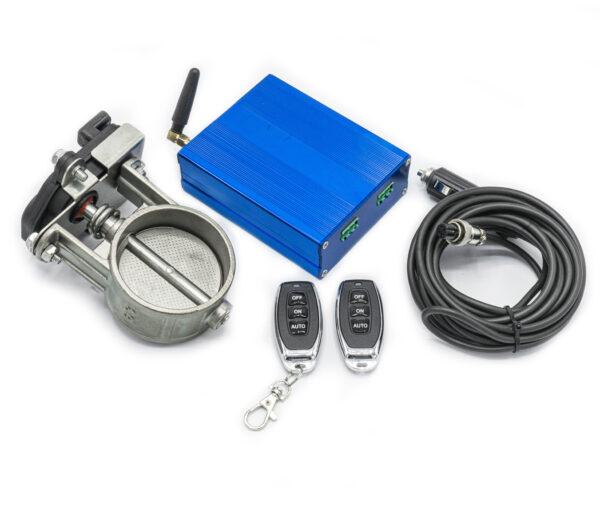 """Электронная заслонка для выхлопной системы (2,5"""") 63 мм + блок управления + 2 пульта"""