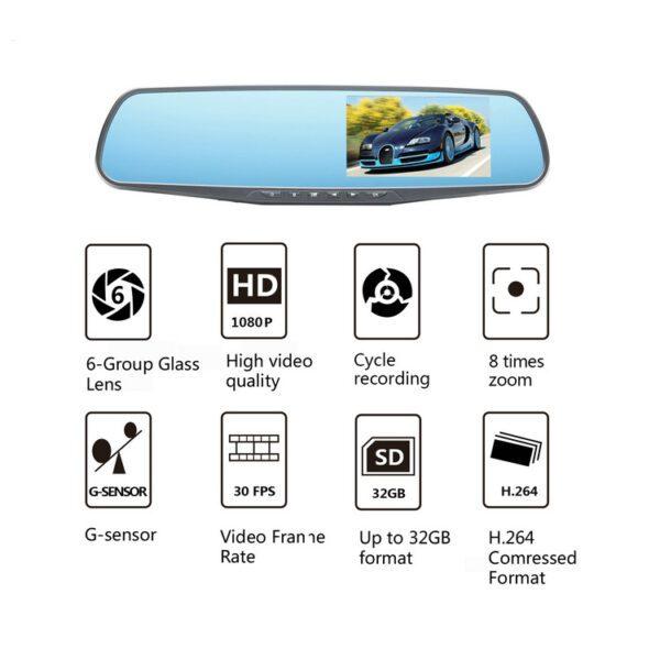 Зеркало заднего вида с регистратором и камерой заднего хода GT600